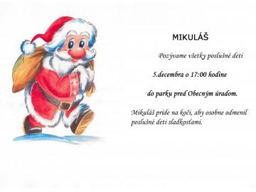Mikuláš navštívi deti z našej obce!