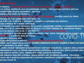 Dôležitý oznam Covid-19