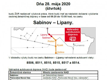 Výluka 28.05.2020 Sabinov-Lipany