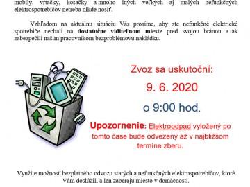 Zvoz nefunkčných elektrospotrebičov 9. 6. 2020