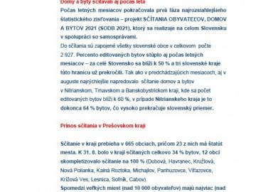 SODB 2021 – tlačová správa Prešovský kraj