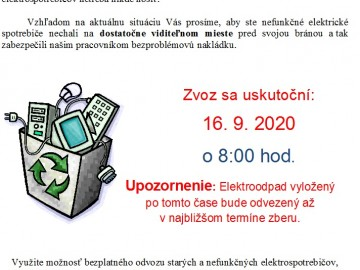 Zber elektroodpadu – 16.9.2020 o 8.00 hod.