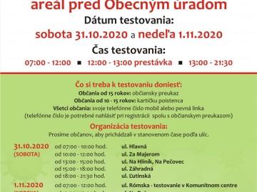 Informácie k celoplošnému testovaniu obyvateľov v Pečovskej Novej Vsi
