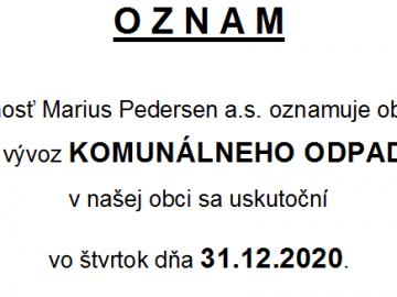Vývoz komunálneho odpadu – 31.12.2020