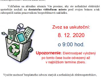 Zber elektroodpadu – 8.12.2020 o 9.00 hod.