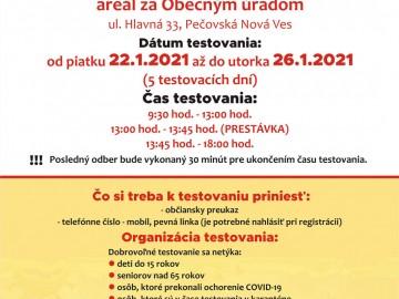 Informácie k organizácii odberného miesta v obci Pečovská Nová Ves