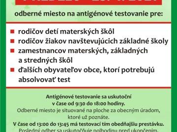Antigénové testovanie 25.04.2021