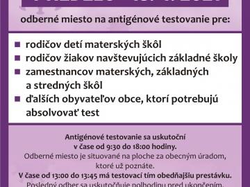 Antigénové testovanie 18.04.2021
