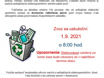 Zvoz elektroodpadu 1.9.2021
