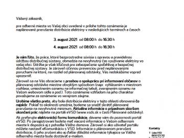 Prerušenie distribúcie elektriny – 3.8.2021 a 4.8.2021 – ul. Kvetná, ul. Na Trubalovec