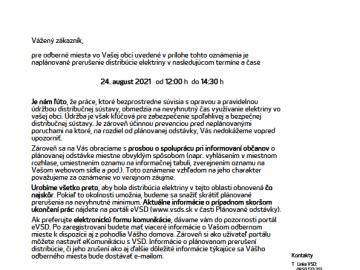 Prerušenie distribúcie elektriny – 24.8.2021 – ul. Ľutinská, Hlavná 138/58